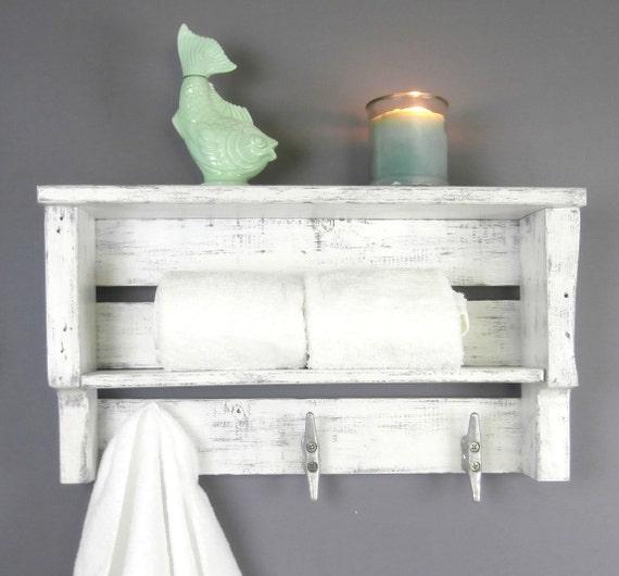 white beach shelf with hooks, coastal white bathroom shelf, nautical shelf  with cleats, bathroom towel shelf, towel hooks, reclaimed wood,