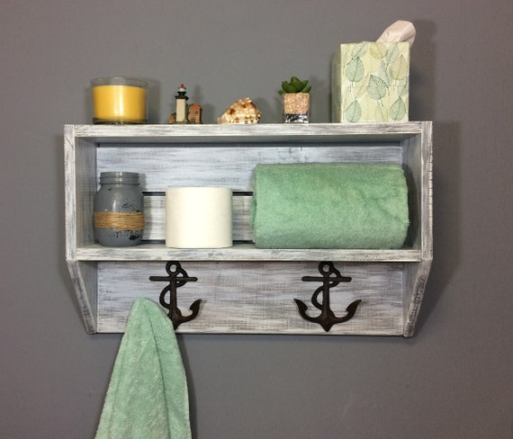coastal white bathroom shelf reclaimed wood, nautical shelf with cleats white beach shelf with hooks bathroom towel shelf towel hooks