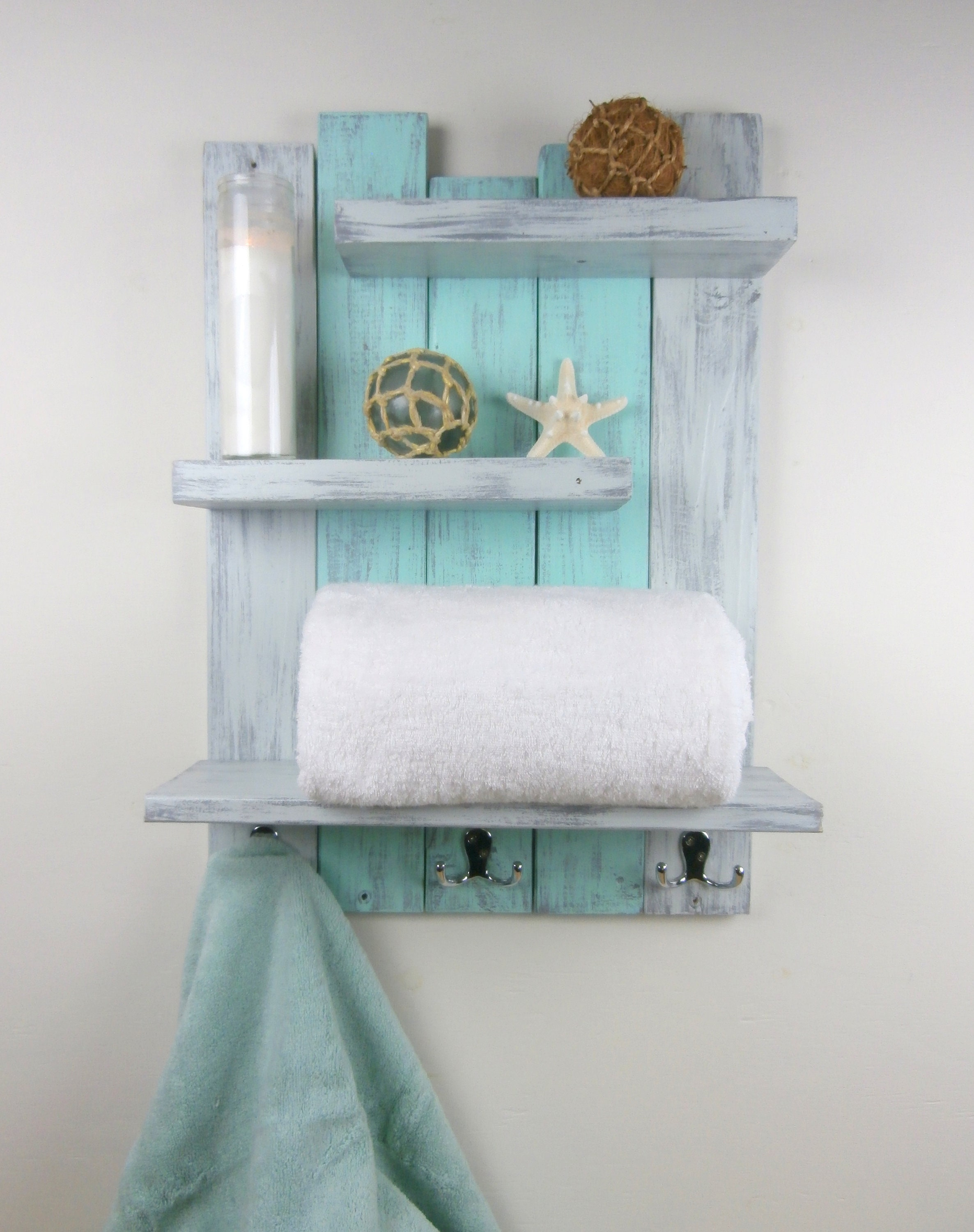 Shabby Teal Distressed Shelves Reclaimed Wood Bath Shelf | Etsy