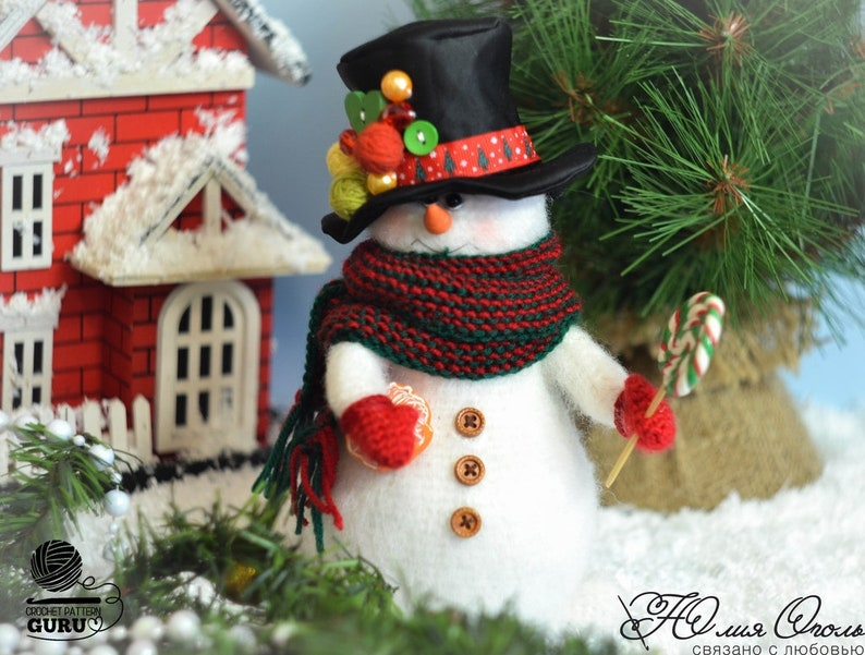 Pdf file by Julia Ogol Etsy 0035 Crochet Pattern Snowman with different hats