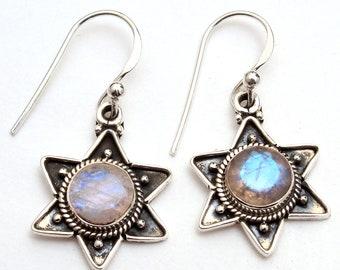 45f8e49fa Adorable Star Shape Faceted Moonstone Round Gemstone Handmade Earring 925  Sterling Silver Women Jewelry Dangle Earrings Length 1.25