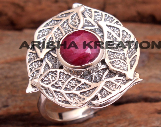Faceted Kashmir Ruby Round Gemstone Ring For Valentine/'s Day 925 Sterling Silver Handmade Designer Ring Jewelry Size US 8 ar6654