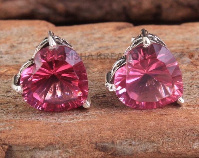 925 Sterling Silver Handmade Designer Stud Jewelry Length 0.3 ae4682 Amazing CZ Pink Topaz Heart Shape Gemstone Earring For Christmas