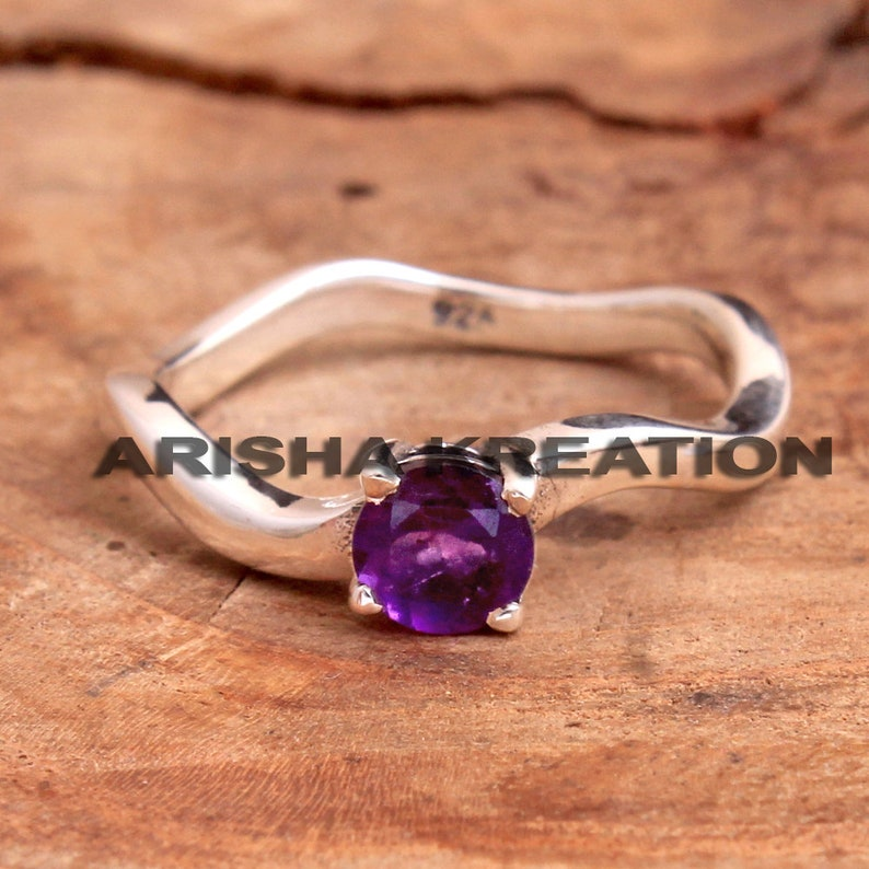 Faceted Amethyst Round Gemstone Design Ring For Easter Sale 925 Sterling Silver Handmade Designer Unisex Ring Jewelry US Size 6 ar6716