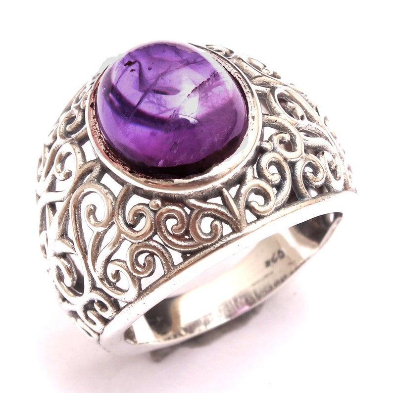 925 Sterling Silver Handmade Designer Ring Jewelry for Gift Size US 7.25 ar4500 Natural Purple Amethyst Oval Gemstone Filigree Design Ring