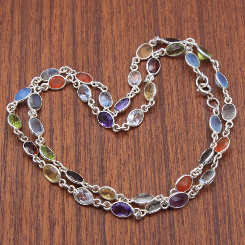 an0042 Necklace Reiki Healing 9 Chakra Connector Chain With Stone Topaz,Citrine,Peridot,Amethyst,Chalcedony 925 Silver Jewelry length 22