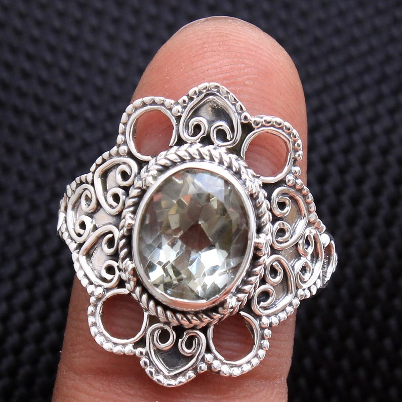 Green Amethyst Oval Gemstone Delicate Ring 925 Sterling Silver Jewelry Handmade Designer Ring Size US 9 ar4116