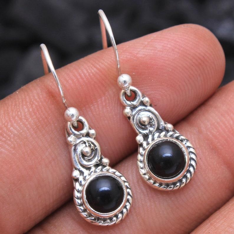ed938f6284c8d Round Shape Black Onyx Gemstone Dangle Earring - 925 Sterling Silver  Handmade Designer Drop & Dangle Pretty Earrings Length 1.1