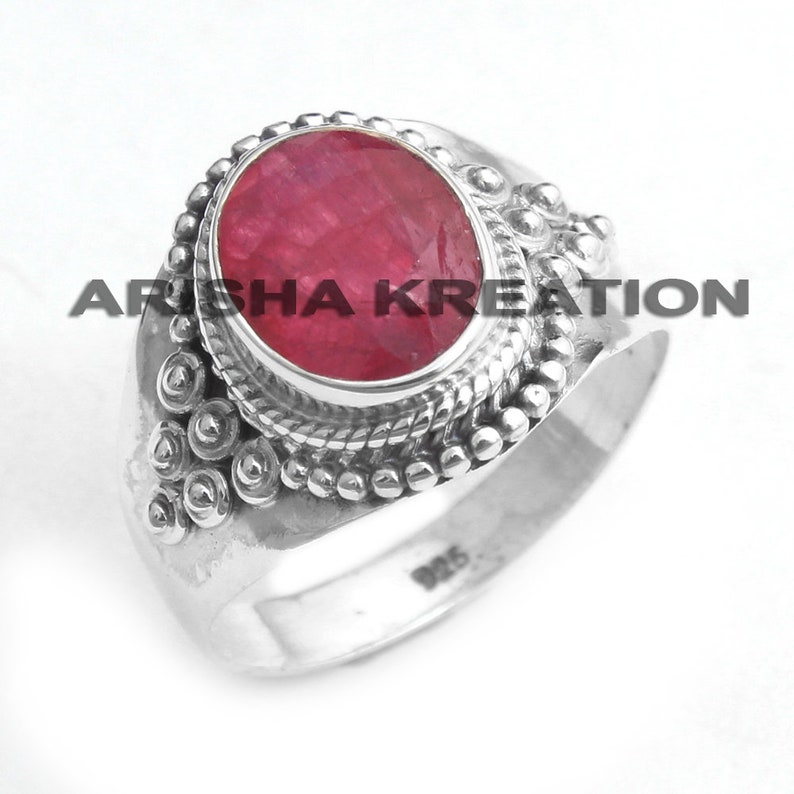 Kashmir Ruby Oval Shape Gemstone Ring For Valentine/'s Day Gift ar6505 925 Sterling Silver Handmade Designer Ring Jewelry US Size 8