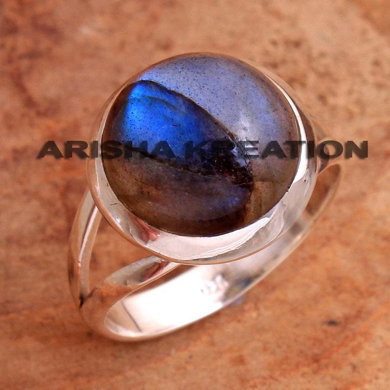 925 Sterling Silver Handmade Designer Unisex Ring Jewelry US Size 8 ar6726 Elegant Labradorite Round Shape Gemstone Ring For Easter