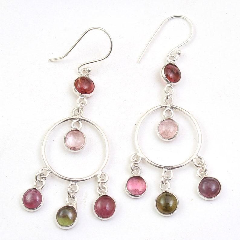 Stunning Multi Tourmaline Round Gemstone Earring 925 Sterling Silver Handmade Designer Women Drop /& Dangle Earrings length 2.5 ae4597