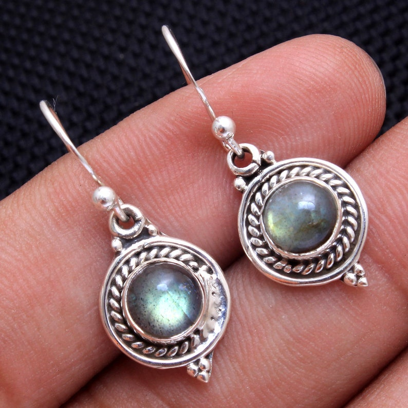 Spectrolite Labradorite Round Gemstone Dangle Earring 925 Sterling Silver Handmade Designer Drop /& Dangle Earrings Length 1.1 ae4010