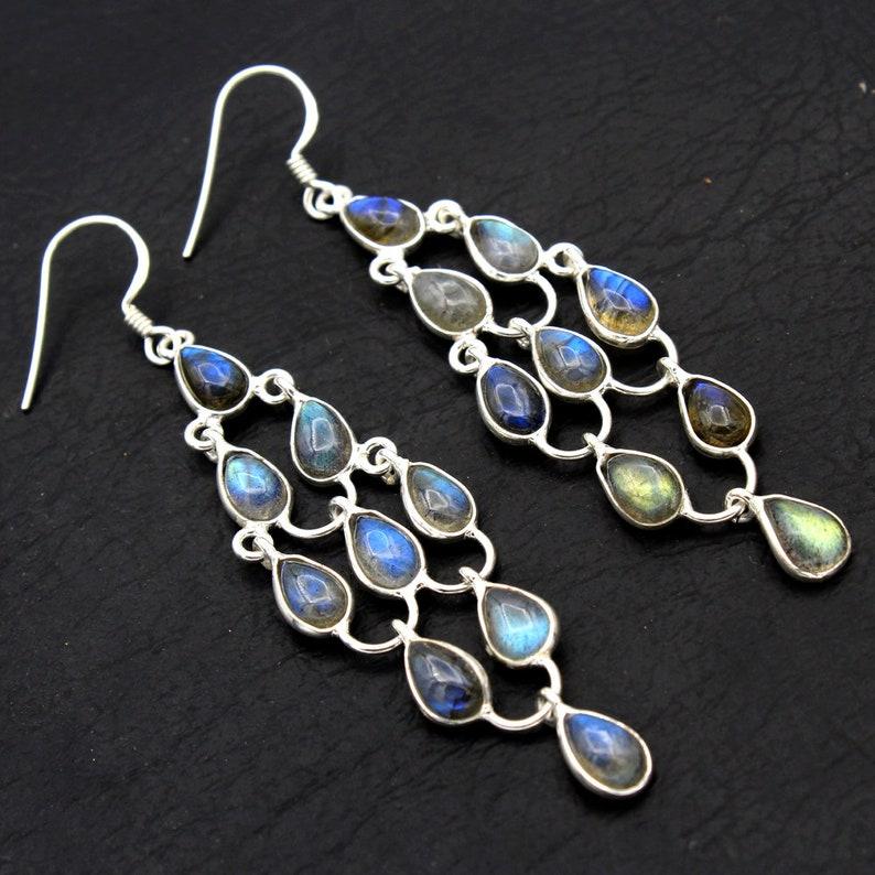natural Labradorite Gemstone 925 Sterling Silver jewelry designer Dangle Earring