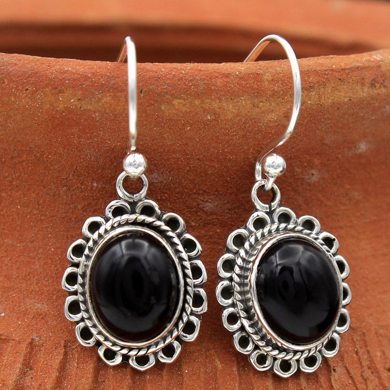 Black Onyx Oval Gemstone Earring For Mother/'s Day Special 925 Sterling Silver Jewelry Handmade Women Drop /& Dangle Earring 1.1-ae2034