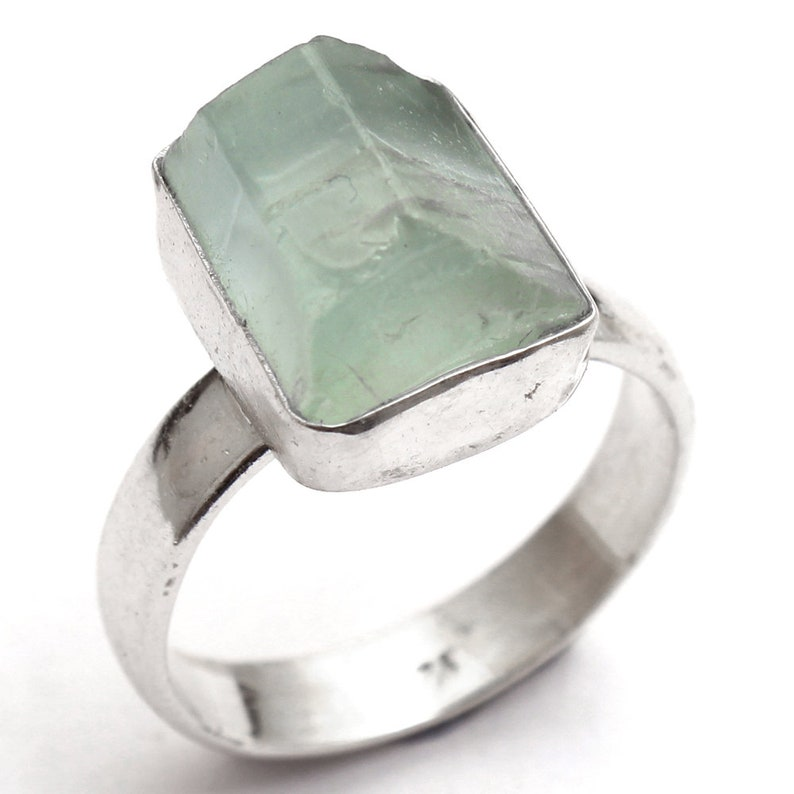 ar4348 925 Sterling Silver Handmade Designer Ring Jewelry Size US 5.75 Father/'s Day Collection Aquamarine Rough Shape Gemstone Ring
