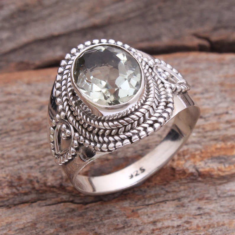 ar3915 AAA Quality Faceted Green Amethyst Oval Shape Gemstone Ring 925 Sterling Silver Solid Handmade Designer Ring Jewelry Size Us 6