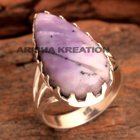 ar6587 Black Septerian Jasper Pear Shape Gemstone Ring For Valentine/'s Day 925 Sterling Silver Handmade Designer Ring Jewelry Us Size 6