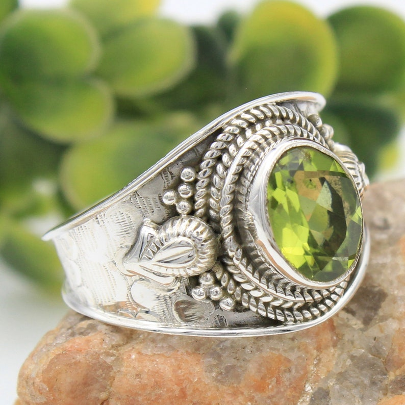 925 Sterling Silver Designer Solid  Ring Size US 5.75 AAA Quality Faceted Peridot Gemstone Ring Silver Stylish Ring ar2104