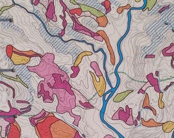Blank Journal - Sketchbook - Scrapbook - Kathmandu Map Covers - Coptic Binding - Lie-Flat Pages - Graduation Gift - Gift for Explorer