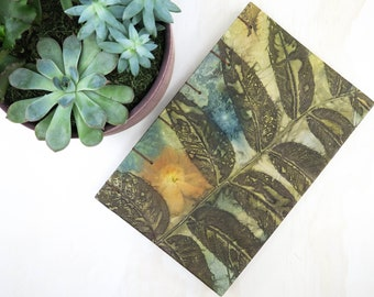 Plants of Siberia one wooden frame scrapbook Pack of 8 Eco Dyed Nature Prints Set of 8 ecoprinted botanic A5 papers for junk journal