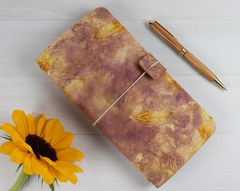 Ecoprinted Traveler's Notebook, Morning Glories, Refillable, Ecofriendly, Natural Colours, Standard Midori Size, Cork Lined Cover, Fauxdori