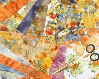Ecoprint Paper Scrap Pack, Leaf & Flower, Natural Colours, Hand Printed, One-of-a-Kind, For Collage, Scrapbooking, Cardmaking, Weaving