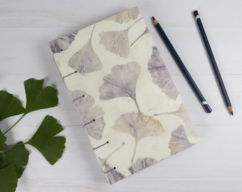 Ginkgo Ecoprint Journal, Sketchbook, Blank Pages Open Flat, Coptic Stitch, Personalized Gift, Hand Bound, For Artist, Unique, Ecofriendly