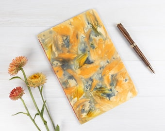 """Ecoprint Notebook, Softcover Journal, Lined Pages, 8.5""""x5.5"""", Ecodyed, Flower Petals, Hand Bound, One of a Kind, Ecofriendly, For Writer"""