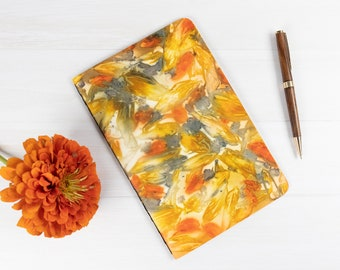 """Ecoprint Notebook, Softcover Journal, Lined Pages, 8.5""""x5.5"""", Ecodyed, Hand Bound, For Writer, One of a Kind, Ecofriendly, For Best Friend"""