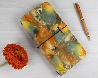 Ecoprint Traveller's Notebook, Refillable, Cork Lined, Standard Midori Size, Fauxdori, Ecofriendly, Day Lilies & Dahlias, Natural Colours
