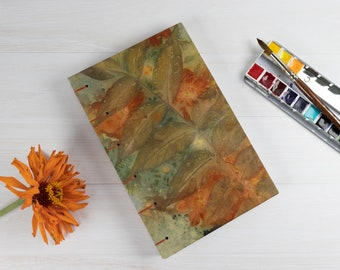 Ecoprint Watercolour Sketchbook, Hand Bound, Pages Open Flat, Coptic Stitch, Walnut Leaf Cover, Gift For Artist, Ecofriendly, One of a Kind
