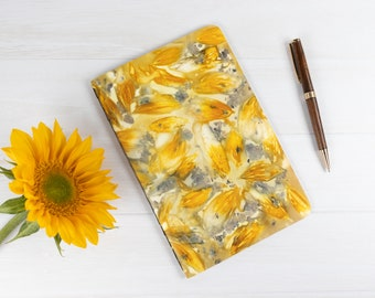 """Ecoprint Notebook, Softcover Journal, Lined Pages, 8.5""""x5.5"""", Ecodyed, Sunflowers, Hand Bound, One of a Kind, Ecofriendly, For Best Friend"""
