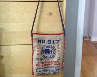 Burlap Rice Bag Satchel