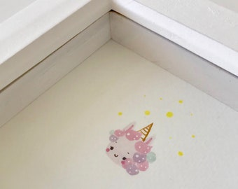 Hand painted, original, one of a kind, unicorn, unicorn cake, watercolour painting, frame, framed art