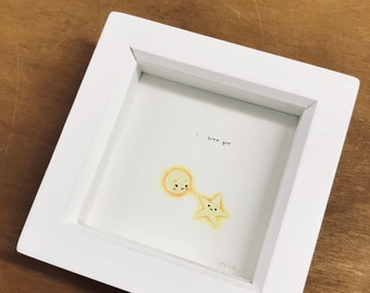 Hand painted, original, one of a kind, i love you, sun, star, watercolour painting, frame, framed art