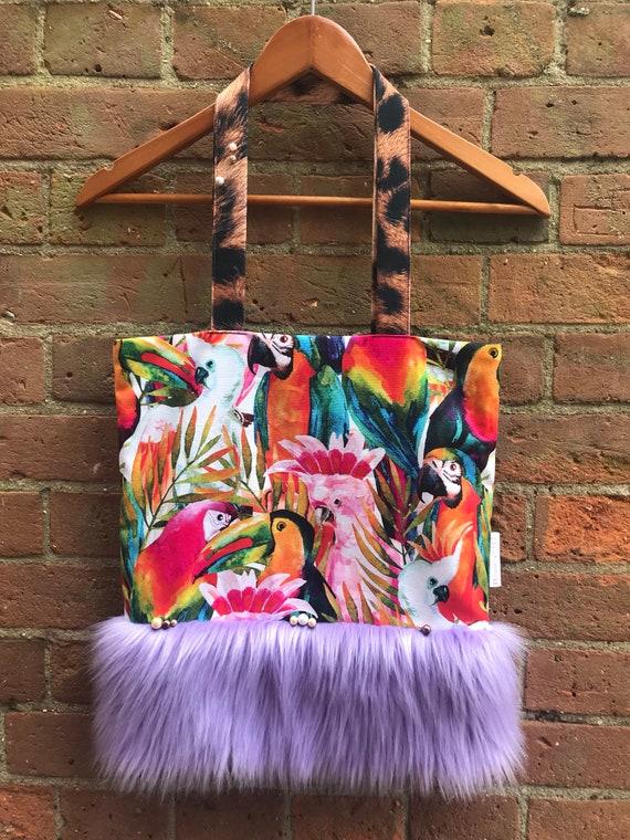 A women s oversized Boho bright tote bag faux fur  0a852d713ed28