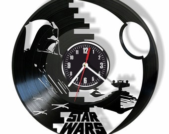 Star Wars silent wall clock made from real vintage vinyl record GIFT for your friends and relatives for any occasion home decor