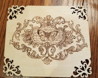 French butterfly wood burning