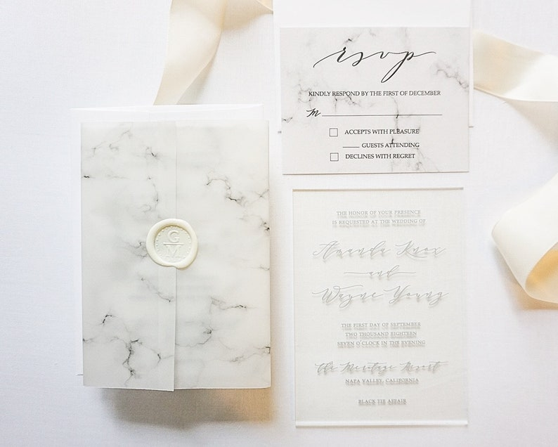 106097e4b0f Clear Acrylic Invitations with Marble Vellum Gatefold Cover
