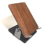 iPad stand in eucalyptus, E reader stand, tablet stand, pivoting, adjustable, charging stand, stainless steel, wood veneer, wrist strain