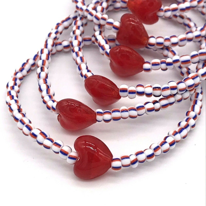 Wholesale Glass Heart Beaded Stretch Bracelets Lot of 10 Red White /& Blue Striped Glass 60 Seed Beads wRed Hearts