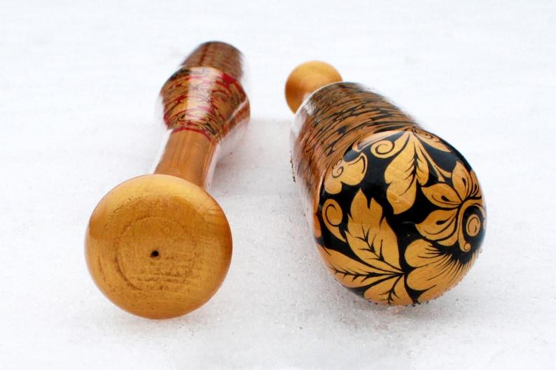 Wood Baseball Bat Hand-painted Russian style Khokhloma painting