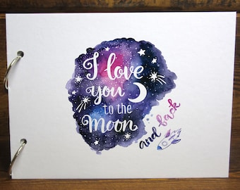 Keepsake album etsy a4a5 love you to the moon back scrapbook removable pages photo album diy keepsake guestbook m4hsunfo
