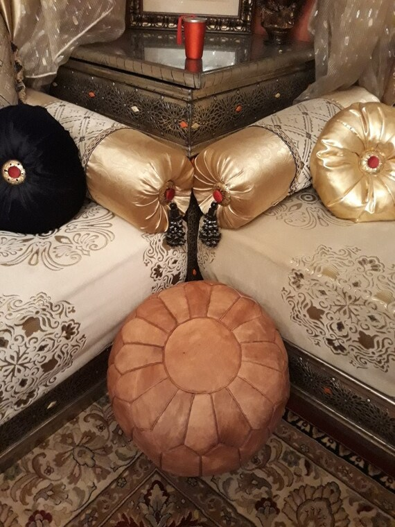 Peachy Set Of 2 Moroccan Handmade Leather Pouf Floor Pouf Leather Ottoman Moroccan Ottoman Light Brown Pouf Uwap Interior Chair Design Uwaporg