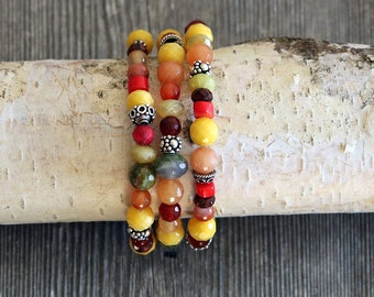 Beaded bracelets set of 3, carnelian, agate, red coral, unikite and beautiful sterling silver beads thtoughout