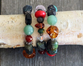 Beaded bracelets set of 3 with larger stones, 12-17mm, carnelian, agate, red coral, rose quartz, labrodorite and sterling silver beads