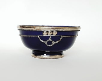 Ornament Metal & blue glazed pottery Bowl