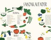 Seasonal A2 Poster I Gardening Plants Seeding Harvest I Kitchen I Fruit Vegetables I Seasonal Calendar for Gardening