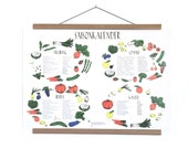 Seasonal calendar poster for local fruits and vegetables in a2 format as wall calendar for kitchen and living room