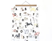 ABC Poster with Dogs in the format A2 - Gift for the beginning of school for animal lovers and dog fools